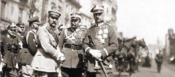 12. Marszałek Józef Piłsudski, gen. Tadeusz Rozwadowski, gen. Kazimierz Sosnkowski, Warszawa 1923