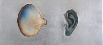 © Magdalena Moskwa bez tytułu / Untitled, nr. 98, 2019 deska, relief w zaprawie kredowej, olej, szlagaluminium / board, relief on chalk mortar, oil, aluminium slag