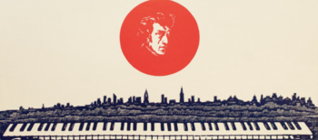 Horizontal poster with image of Chopin in the middle, and piano at the bottom.